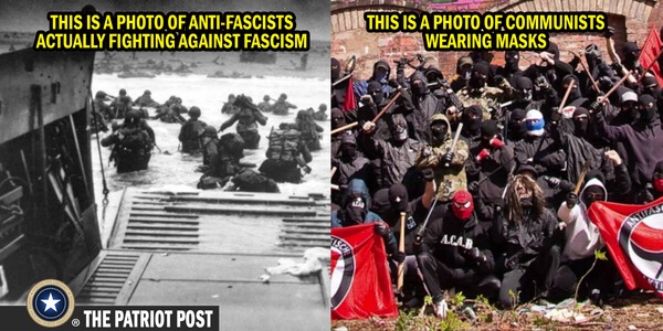 This is a photo of anti-fascists actually fighting against fascism. And this is a photo of communists wearing masks.