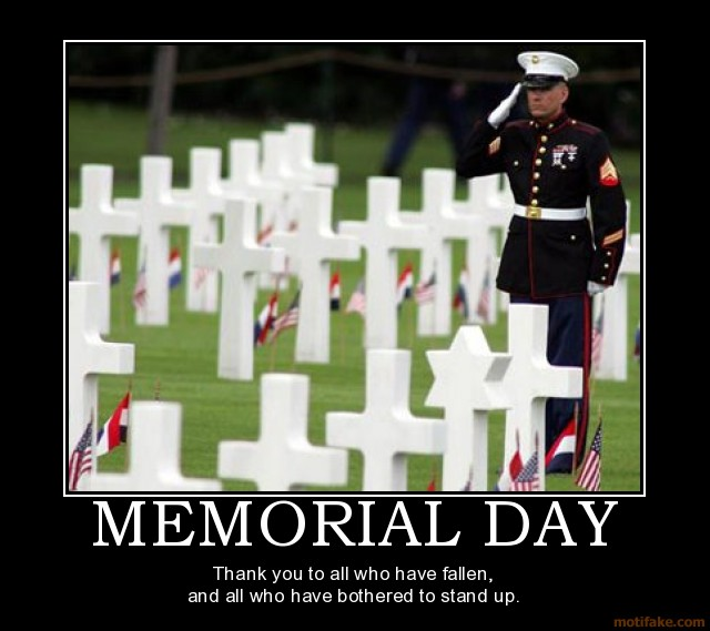 Memorial Day - Thank you to all who have fallen and to all who have bothered to stand.